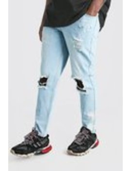 Big & Tall Slim Bleached Distressed Jeans by Boohoo Man