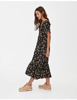 Voluminous Floral Print Midi Dress by Pull & Bear