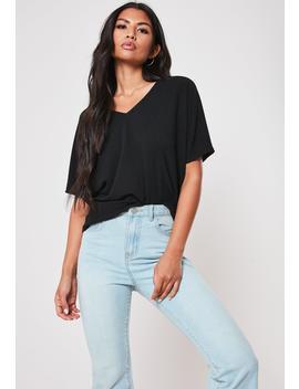 Petite Black Rib V Neck Oversized Boyfriend T Shirt by Missguided