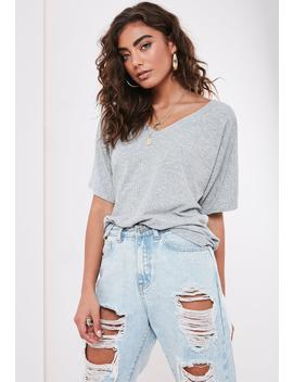 Petite Gray Rib V Neck Oversized Boyfriend T Shirt by Missguided