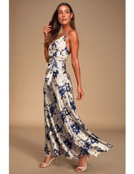 Tea Gardens Navy Blue Floral Print Satin Maxi Dress by Lulus