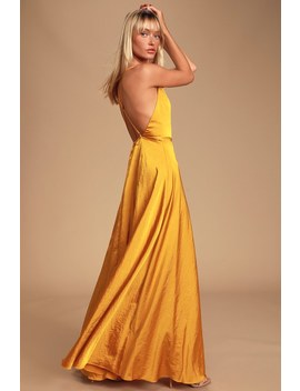 Total Beauty Golden Yellow Satin Backless Maxi Dress by Lulus