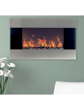 Carreon Stainless Steel Wall Mounted Electric Fireplace by Orren Ellis