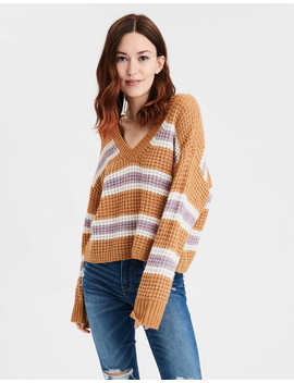 Ae Striped Cropped V Neck Sweater by American Eagle Outfitters