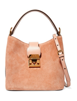 Murphy Leather Trimmed Suede Bucket Bag by Mark Cross