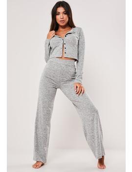 Light Gray Button Through Pyjama Set by Missguided