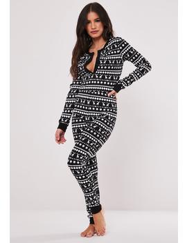 Black Fairilse Christmas Loungewear Onesie by Missguided