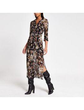 Black Print Long Sleeve Sheer Shirt Dress by River Island