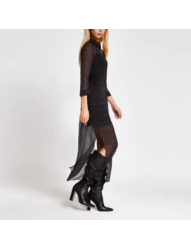 Black Printed Long Sleeve Midi Shirt Dress by River Island
