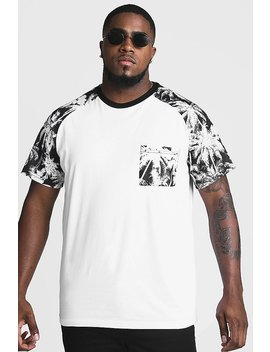 Big And Tall T Shirt With Palm Print by Boohoo