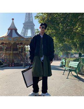 Men Fake 2 Pcs Splice Casual Long Bomber Jacket Windbreaker Male Women Streetwear Hip Hop Fashion Trench Coat Overcoat Outerwear by Ali Express.Com