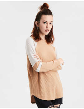 Ae Soft Plush Waffle Long Sleeve T Shirt by American Eagle Outfitters