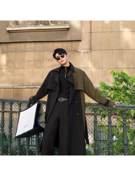 Men Autumn Winter Splice Sashes Loose Casual Chic Long Trench Coat Male Vintage Streetwear Hip Hop Windbreaker Overcoat Jacket by Ali Express.Com