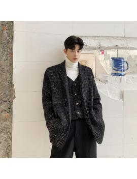 Men Autumn Winter Fake 2 Pcs Splice Loose Casual Woolen Suit Jacket Blazer Male Streetwear Vintage Fashion Suits Coat Outwear by Ali Express.Com