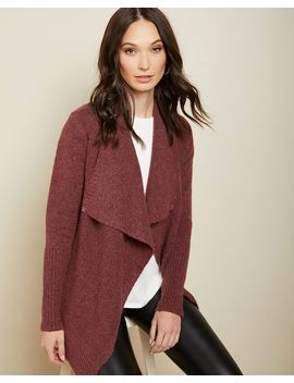 Nepped Spongy Knit Cascading Cardigan by Rw & Co