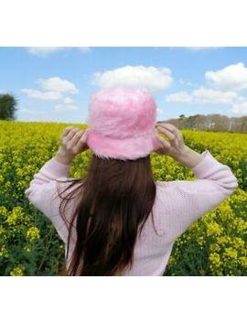 Baby Pink Fluffy Faux Fur Bucket Hat   Handmade   Festival by Chloe Louise