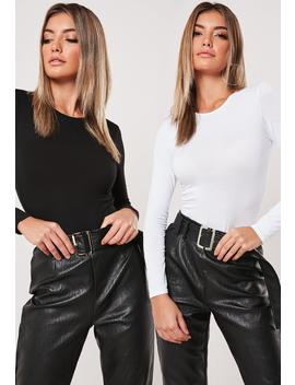 White And Black 2 Pack Crew Neck Bodysuits by Missguided