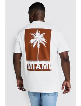 Big & Tall Miami Print T Shirt by Boohoo