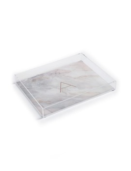 Marbled Monogram Tray by Deny Designs