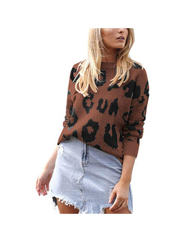 Women's Causal Long Sleeve Crew Neck Leopard Print Knitted Pullover Sweater Tops by Shop Vista