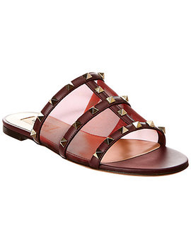 Valentino Rockstud Leather & Mesh Sandal by Valentino