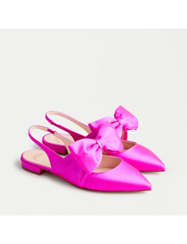 Gwen Slingback Flats With Bow In Satin by J.Crew