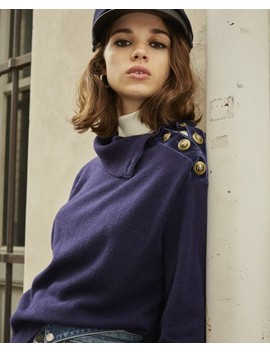 Blue Wool Crew Neck Sweater W/Buttons+Chain by The Kooples