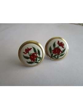 Vintage Gold Tone & Porcelain Flower Screw Back Earrings by Etsy