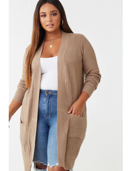 Plus Size Open Front Knit Cardigan by Forever 21