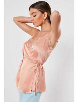 Peach Lace Trim Longline Wrap Cami Top by Missguided
