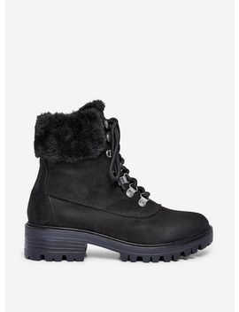 Black 'millie' Fur Hiker Boots by Dorothy Perkins