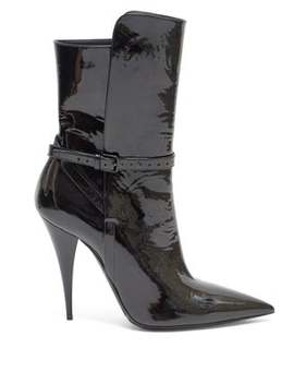 Kiki Point Toe Patent Leather Boots by Saint Laurent