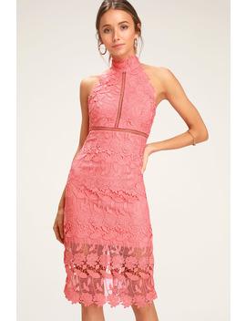 Noni Coral Pink Lace Halter Midi Dress by Bardot