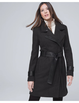 Vegan Leather Trim Wrap Coat With Removable Belt by Whbm