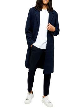 Check Wool Blend Single Breasted Coat by Topman