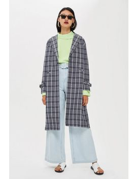 Crinkle Check Duster Coat by Topshop