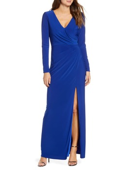 Long Sleeve Ruched Knit Gown by Vince Camuto