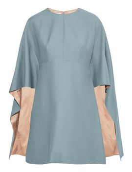 Cape Effect Wool And Silk Blend Cady Mini Dress by Valentino