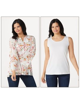 Susan Graver Printed Woven Button Front Shirt And Knit Tank Set by Susan Graver