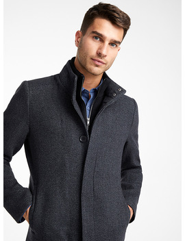Double High Neck Tweed Coat by Le 31