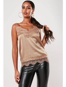 Tan Eyelash Lace Cami Top by Missguided