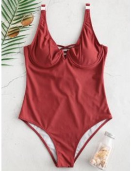 Salezaful Lace Up Underwire Swimsuit   Cherry Red Xl by Zaful