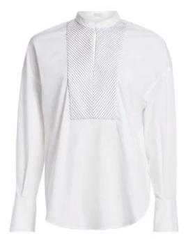 Embellished Chevron Bib Poplin Shirt by Brunello Cucinelli