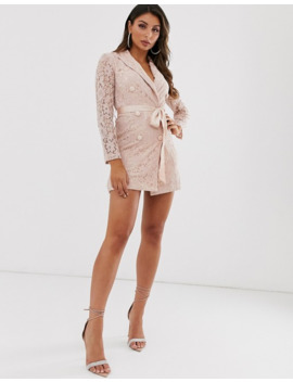 Love Triangle Lace Blazer Dress With Ribbon Detail In Taupe by Love Triangle's