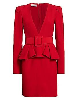 Plunge Front Belted Peplum Dress by Michael Kors Collection