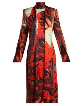 Silk Satin Butterfly Print Dress by Alexander Mc Queen