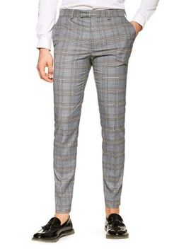 Skinny Check Pants by Topman