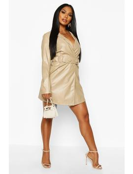 Pu Belted Wrap Over Blazer Dress by Boohoo