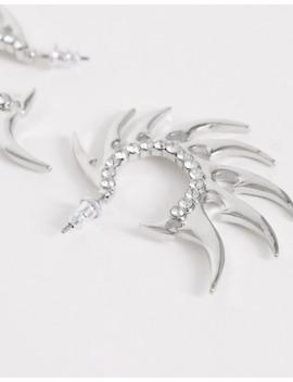 Asos Design Hoop Earrings In Spike Design In Silver Tone by Asos Design