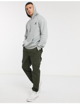 Converse Small Logo Hoodie In Grey by Converse